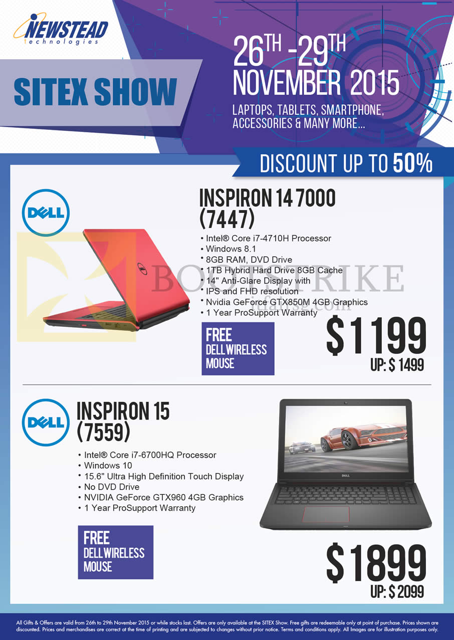 SITEX 2015 price list image brochure of Dell Newstead Notebooks Inspiron 14 7000 7447 4710H, 15 7559 6700HQ