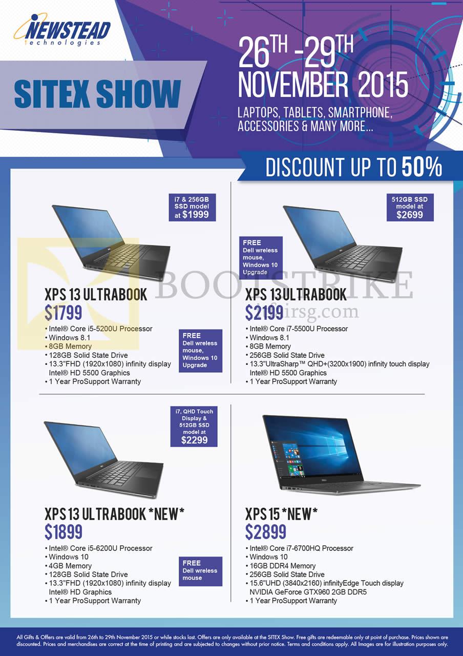 SITEX 2015 price list image brochure of Dell Newstead Notebooks XPS 13 5200U, 5500U, 6200U, 6700HQ