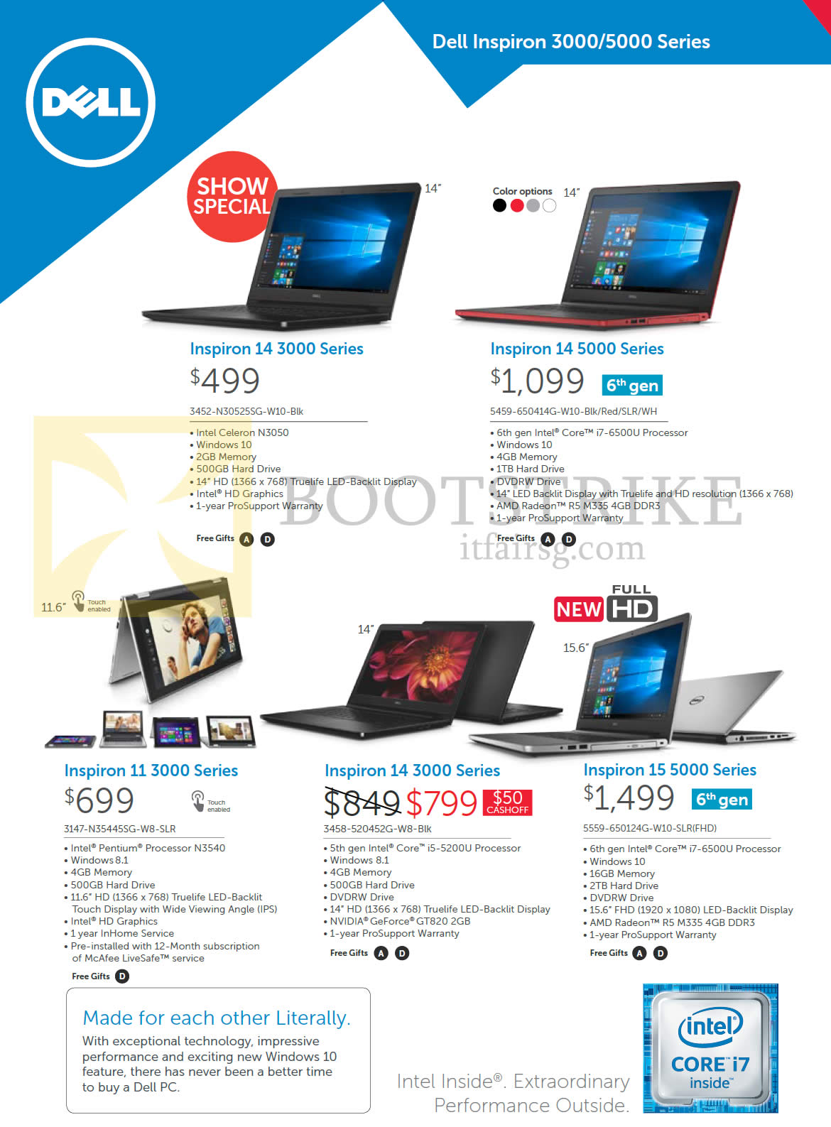 SITEX 2015 price list image brochure of Dell Notebooks Inspiron 3452-N30525SG-W10-Blk, 5459-650414G-W10-Blk, Red, SLR, WH, 3147-N35445SG-W8-SLR, 3458-520452G-W8- Blk, 5559-650124G-W10-SLR
