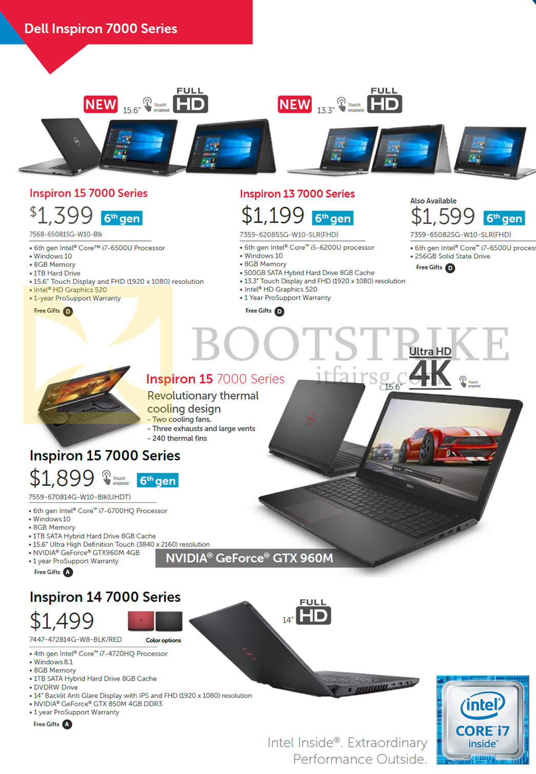 SITEX 2015 price list image brochure of Dell Notebooks Inspiron 7568-65081SG-W10-Blk, 7359-62085SG-W10-SLR, 7359-65082SG-W10-SLR, 7559-670814G-W10-Blk, 7447-472814G-W8-BLK, RED