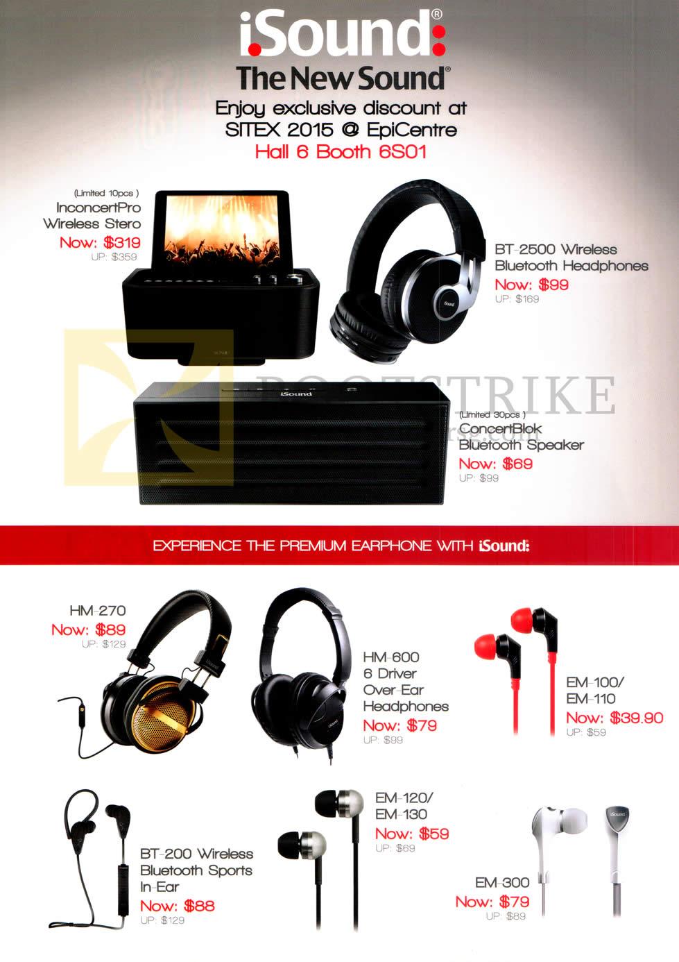 SITEX 2015 price list image brochure of EpiCentre ISound InconcertPro Wireless Stereo, BT2500, ConcertBlok, HM-270, HM-600, EM-100, EM-110, BT-200, EM-120, EM-130, EM-300