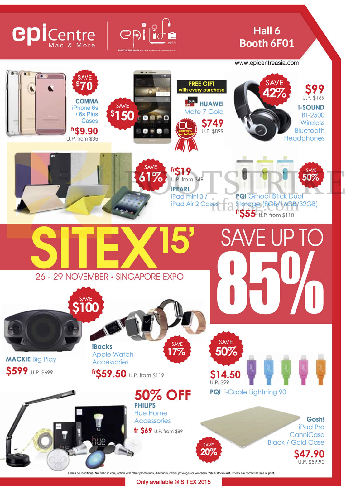 SITEX 2015 price list image brochure of EpiCentre, EpiLife Cases, Bluetooth Headphones, Apple Watch Accessories, Lightning Cable, Home Accessories
