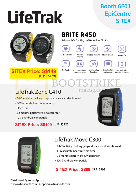 SITEX 2015 price list image brochure of Epicentre LifeTrak Brite R450 Tracking Heart Rate Monitor, Zone C410, Move C300
