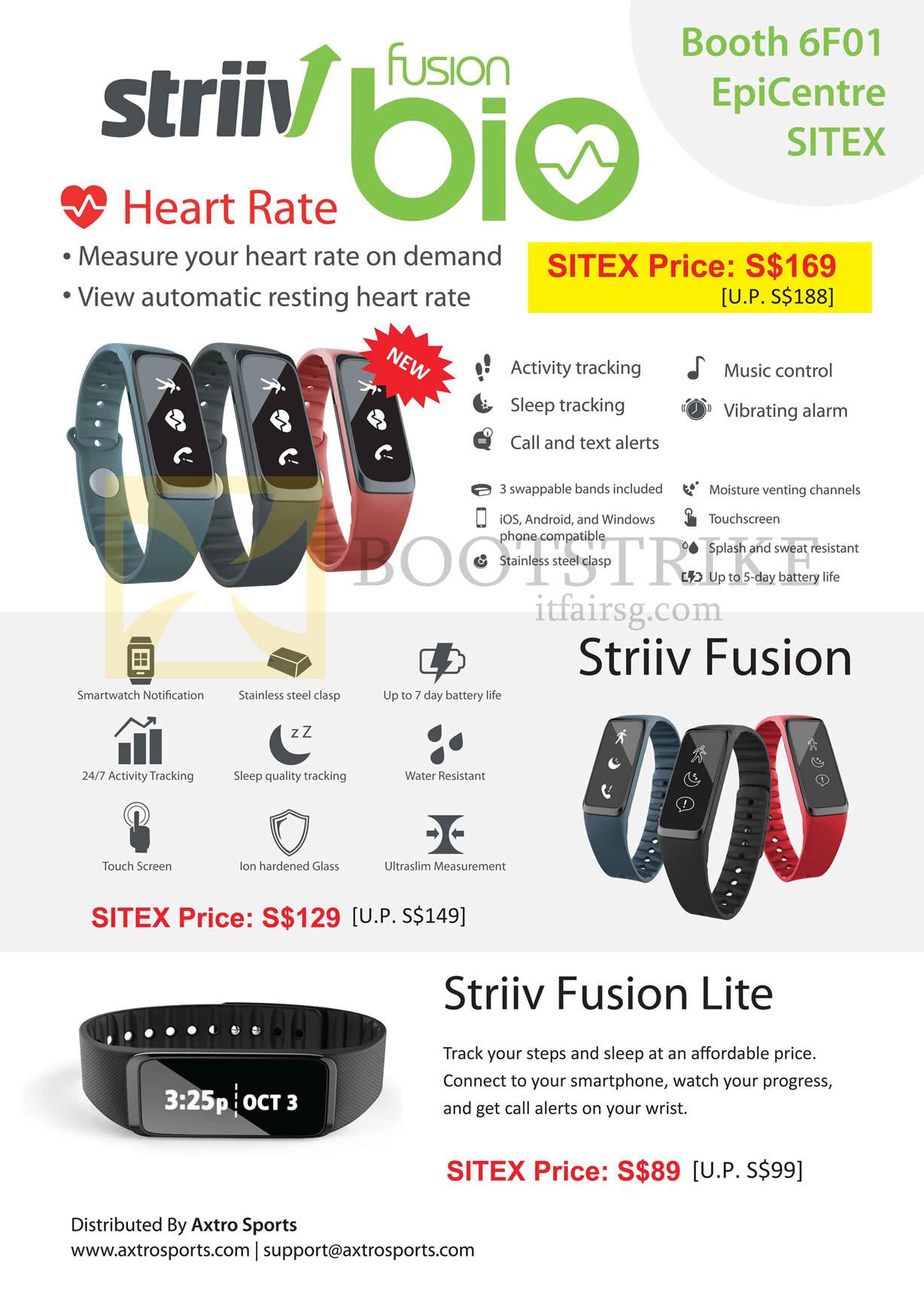 SITEX 2015 price list image brochure of Epicentre Striiv Fusion Bio Heart Rate, Striiv Fusion, Fusion Lite