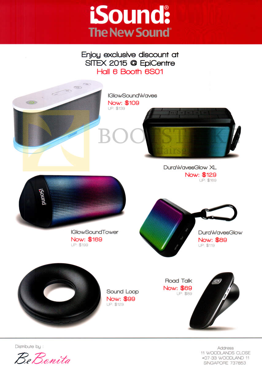 SITEX 2015 price list image brochure of Epicentre ISound Bluetooth Speakers IGlowSoundWaves, DuraWavesGlow XL, IGlowSoundTower, DuraWavesGlow, Sound Loop, Road Talk