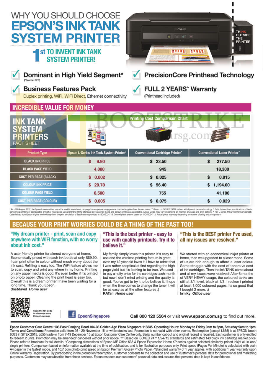 SITEX 2015 price list image brochure of Epson Ink Tank System Printers Printing Cost Comparison Chart