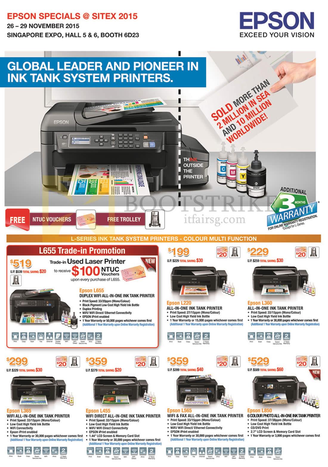 SITEX 2015 price list image brochure of Epson Printers L Series Ink Tank System L220, L360, L365, L455, L565, L850