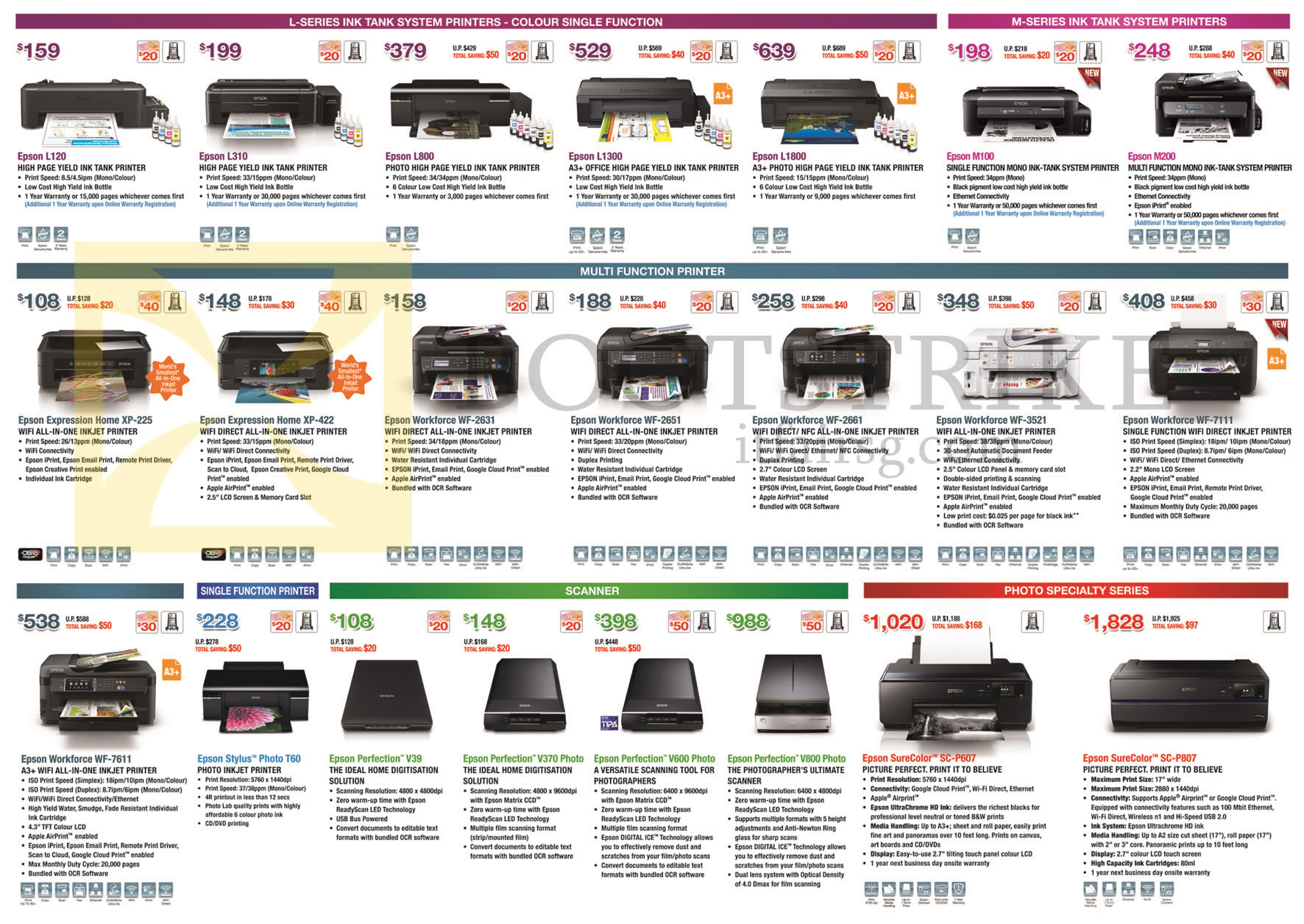 Epson Printers, Scanners, L120, L800, L1300, L1800