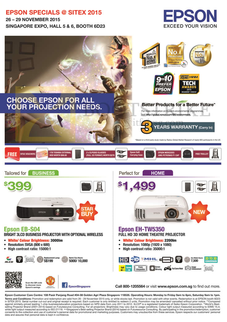 SITEX 2015 price list image brochure of Epson Projectors EB-S04, EH-TW5350