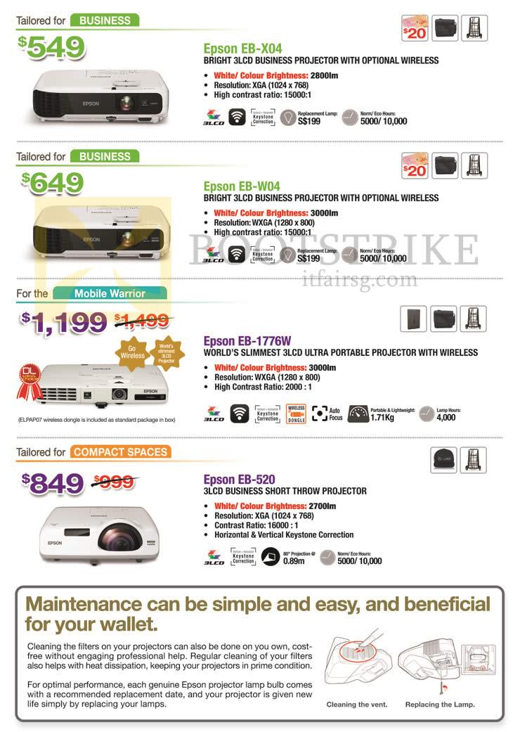 SITEX 2015 price list image brochure of Epson Projectors EB-X04, EB-W04, EB-1776W, EB-520