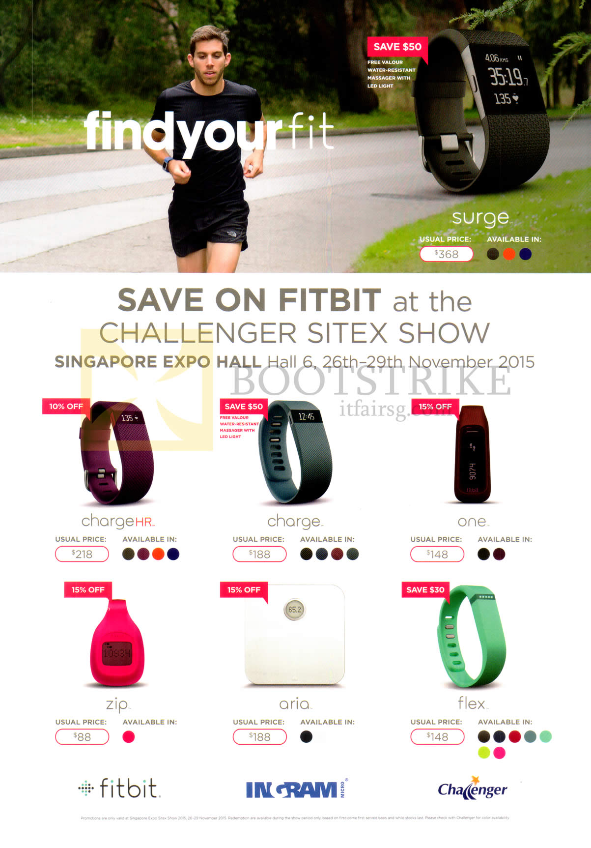 SITEX 2015 price list image brochure of Fitbit Charge HR, Charge, One, Zip, Aria, Flex