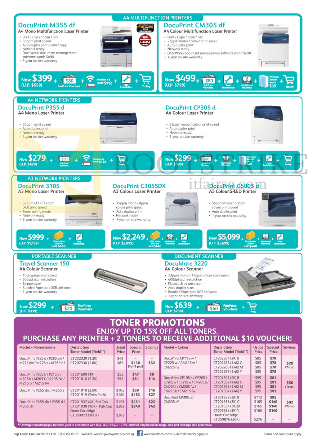 SITEX 2015 price list image brochure of Fuji Xerox Printers, Scanners, DocuPrint M355df, CM305df, P355d, CP305d, 3105, C3055DX, C5005d, Travel Scanner 150, DocuMate 3220, Toner
