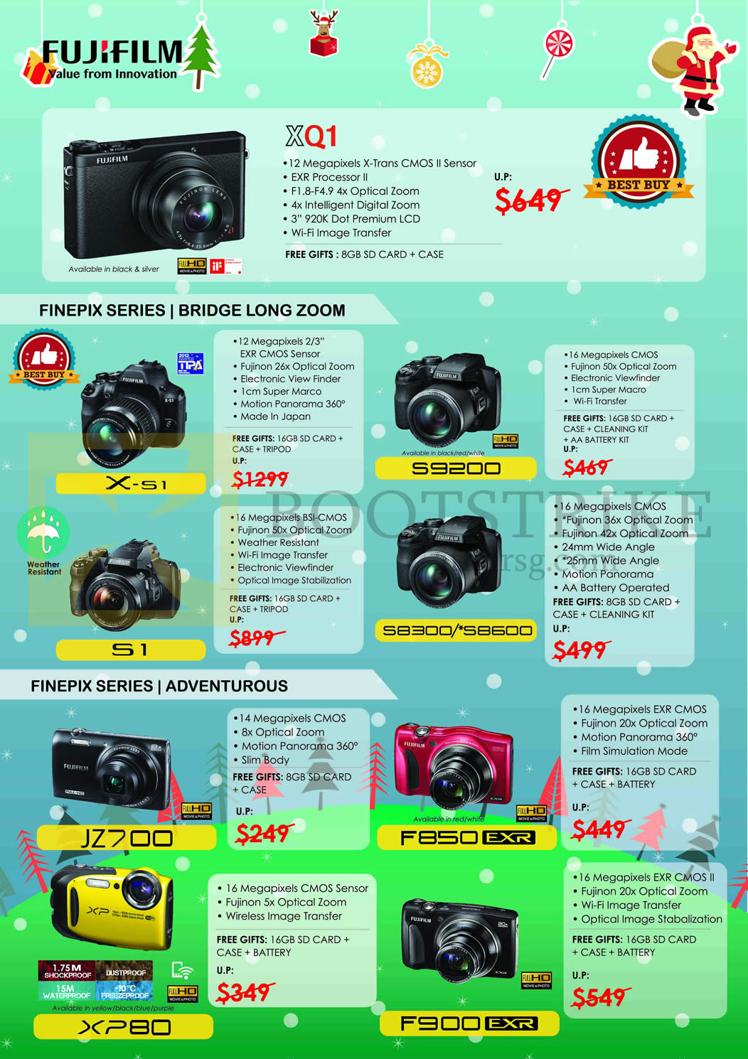 Fujifilm (No Prices) Digital Cameras X-S1, S9200, S8300, S8600, S1, F900, X-51, JZ700, F850, XP80