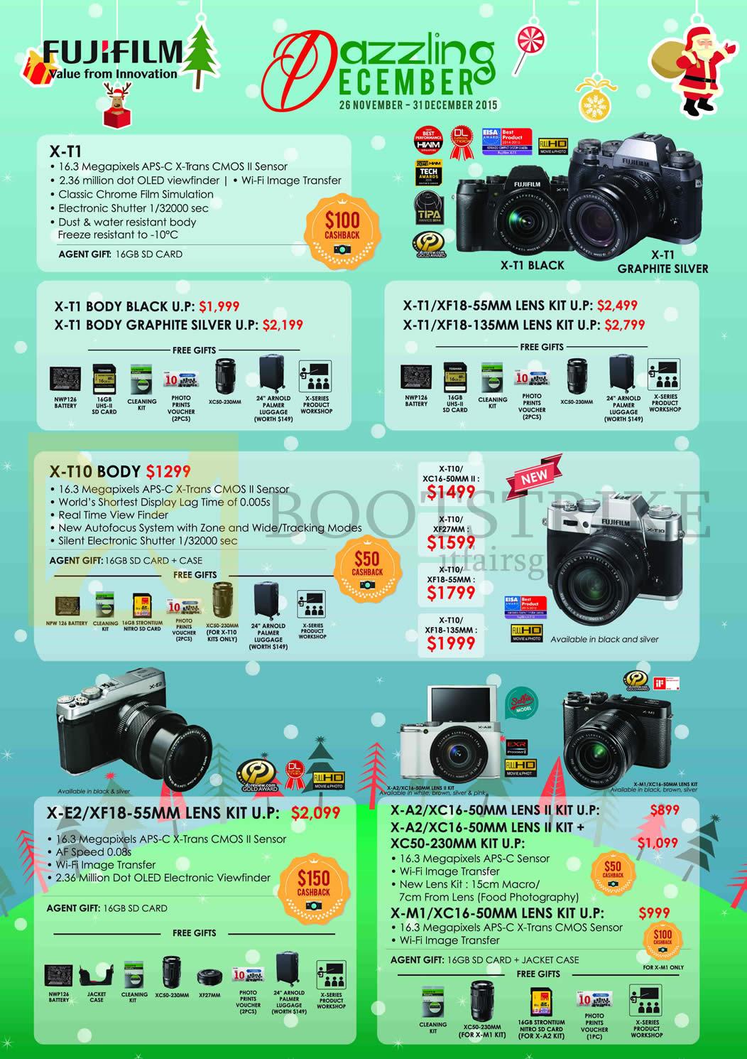 Fujifilm Digital Cameras X-T1, X-E2, X-A2, X-M1, X-T10