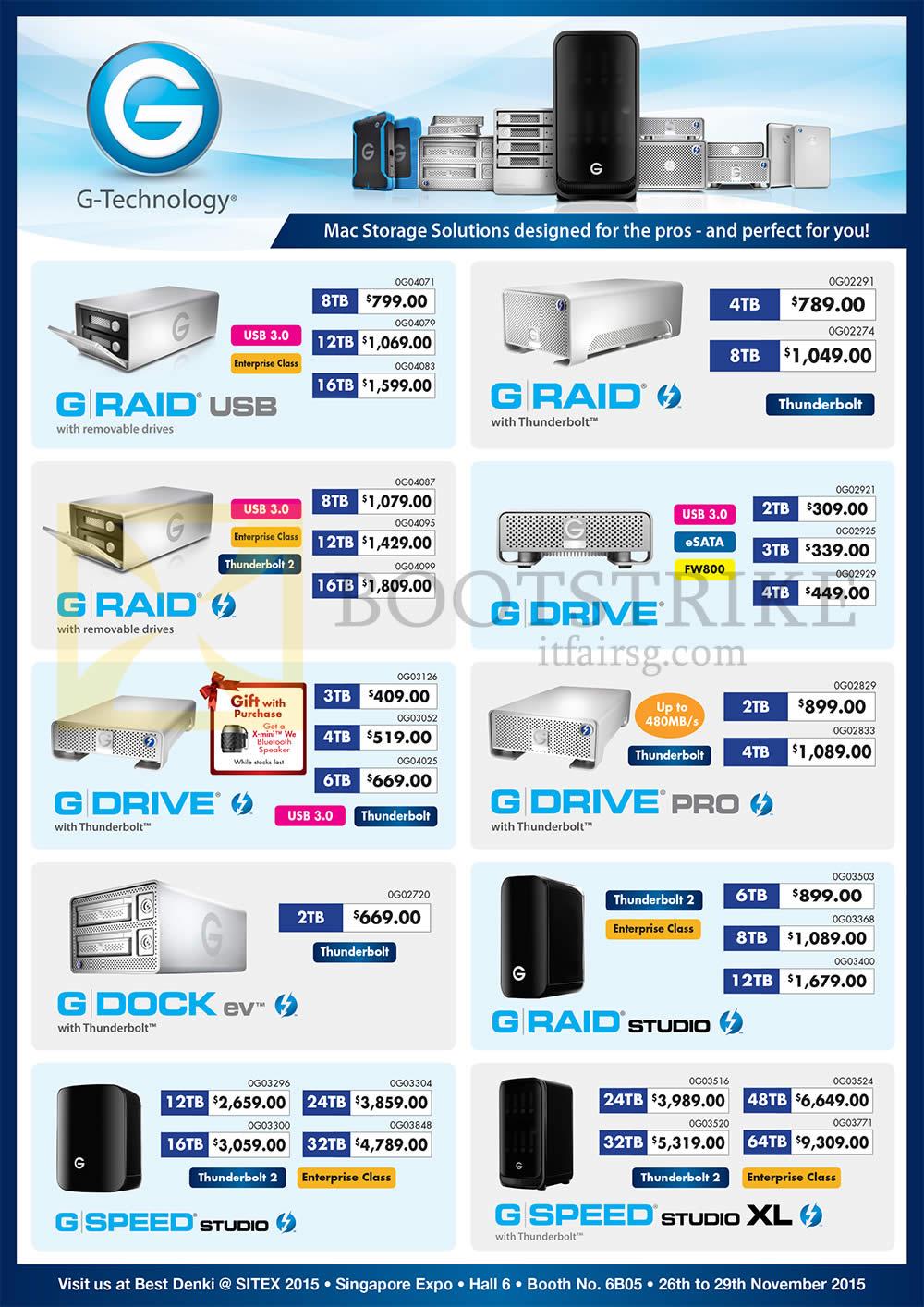 SITEX 2015 price list image brochure of G-Technology Storage Solutions G Raid USB, With Thunderbolt, With Removable Drives, Studio, G Drive, Pro, G Dock Ev, G Raid Studio, G Speed Studio