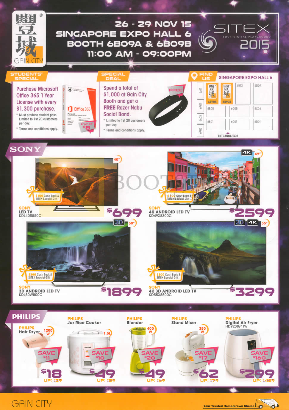 SITEX 2015 price list image brochure of Gain City Sony TVs, KDL-40R550C, KD49X8300C, KDL50W800C, KD55X8500C, Philips Kitchen Appliances Hair Dryer, Jar Rice Cooker, Blender, Stand Mixer, Digital Air Fryer