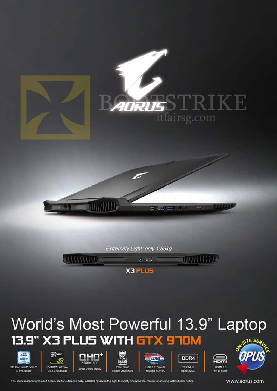 SITEX 2015 price list image brochure of Gamepro Aorus X3 Plus Notebook GTX 970M
