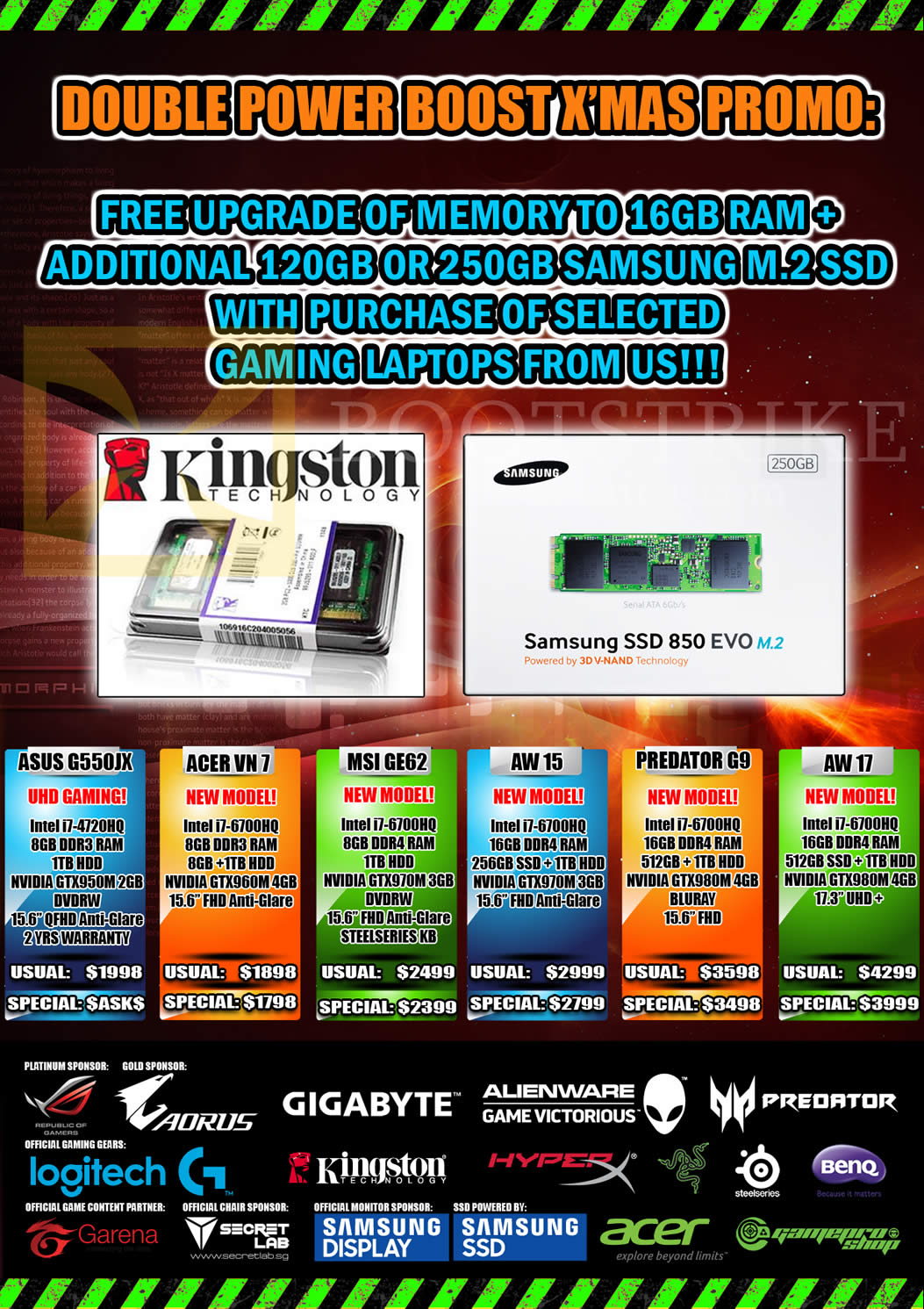 SITEX 2015 price list image brochure of Gamepro Notebooks Asus G550jx, Acer VN7, MSI GE62, AW15, Predator G9, AW17