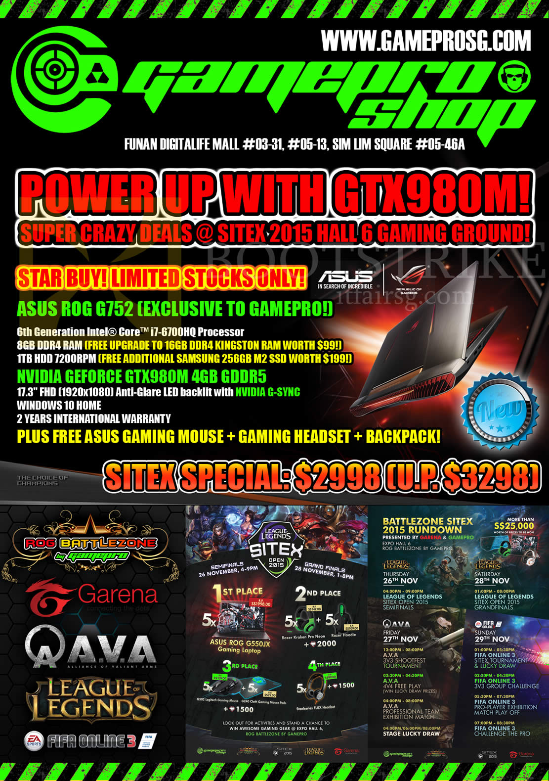 SITEX 2015 price list image brochure of Gamepro Notebooks Asus ROG G752, Nvidia Geforce GTX980M