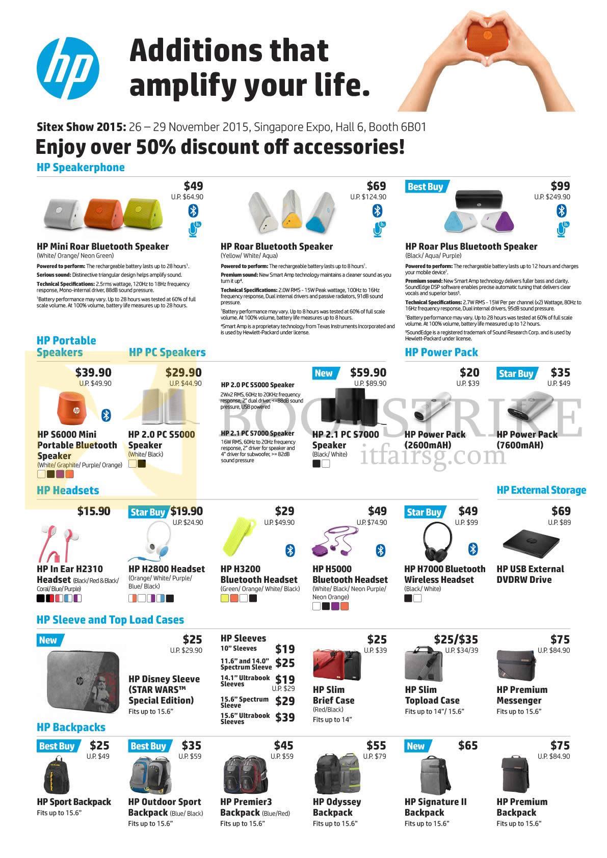 SITEX 2015 price list image brochure of HP Accessories Speakers, Power Pack, External Storage, Headsets, Sleeve N Top Load Cases, Backpacks, Earphones, Bluetooth Speakers