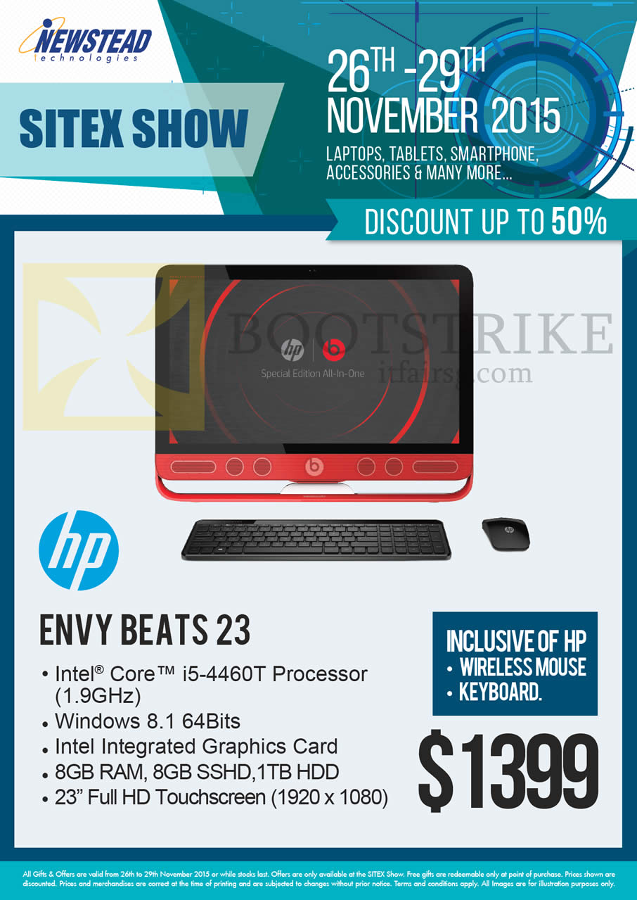 SITEX 2015 price list image brochure of HP Newstead AIO Desktop PC Envy Beats 23