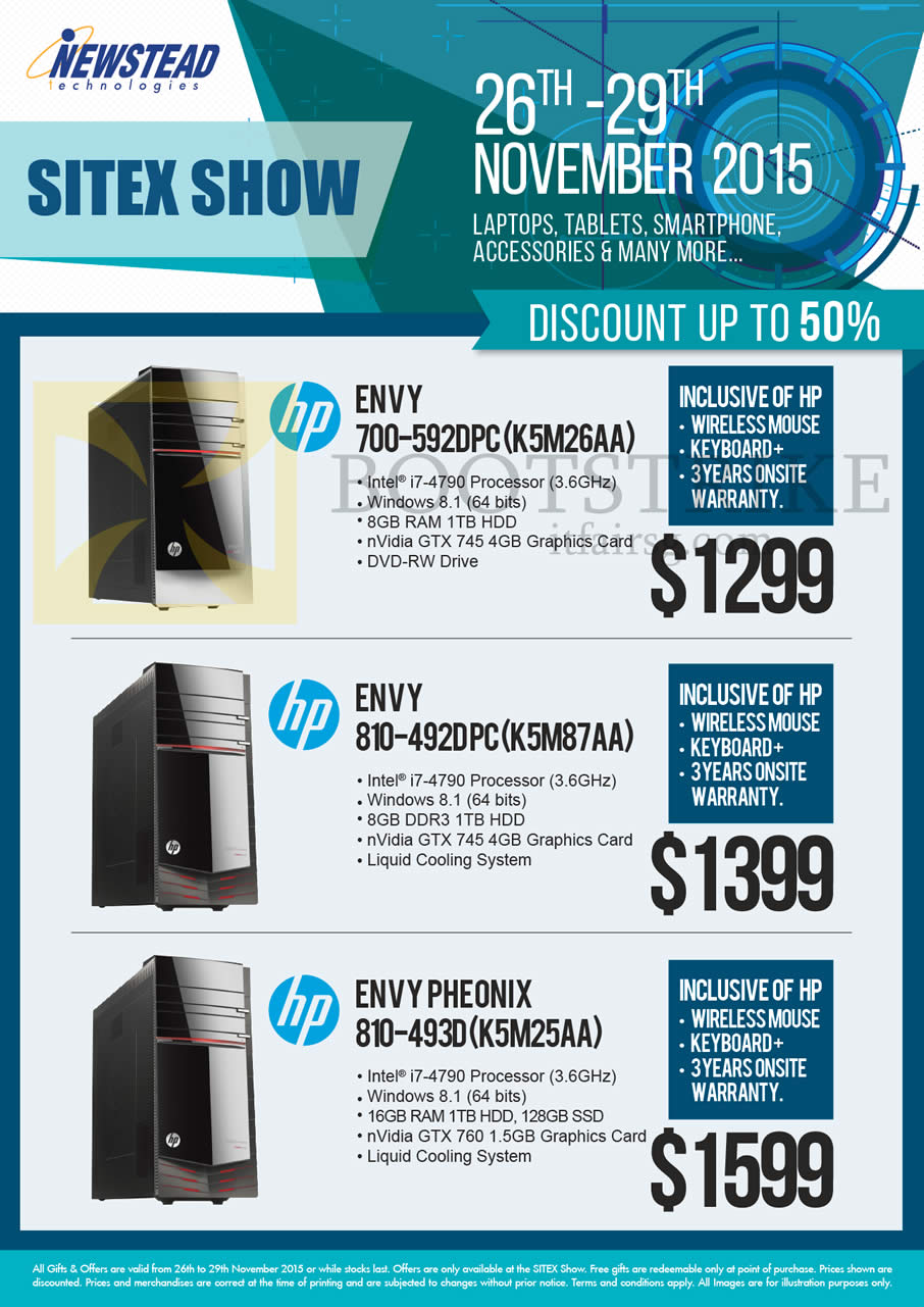 SITEX 2015 price list image brochure of HP Newstead Envy 700-592DPC (K5M26AA), 810-492DPC(K5M87AA), Pheonix 810-493D (K5M25AA)