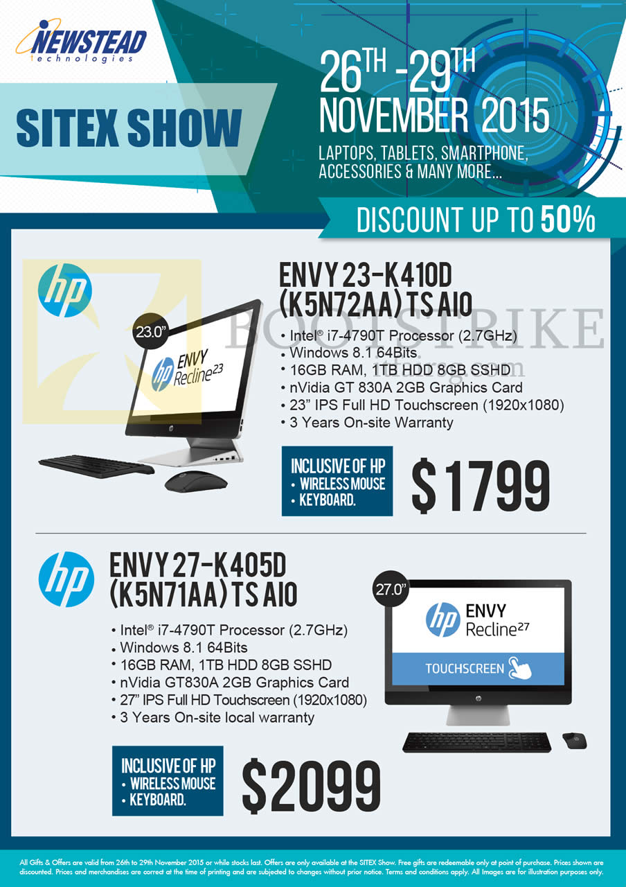 SITEX 2015 price list image brochure of HP Newstead Envy AIO Desktop PC 23-K410D K5N72AA TS AIO, 27-K405D K5N71AA TS