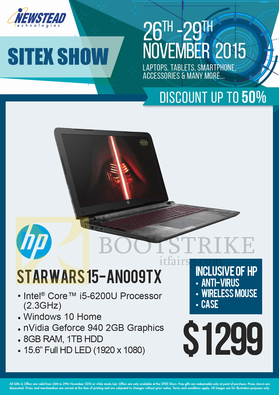 SITEX 2015 price list image brochure of HP Newstead Notebook Starwars 15-AN009TX
