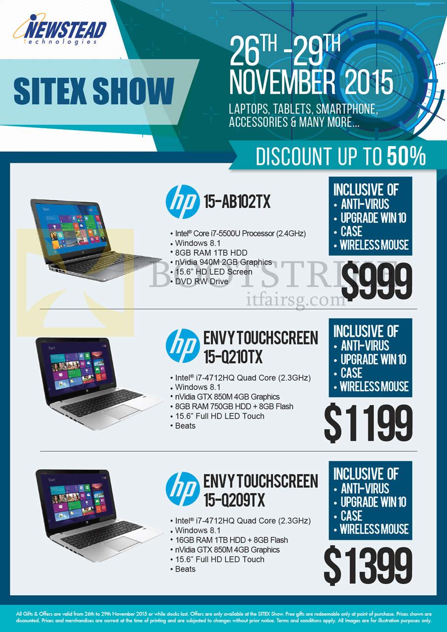 SITEX 2015 price list image brochure of HP Newstead Notebooks 15-AB102TX, Envy Touchscreen 15-Q210TX, 15-Q209TX