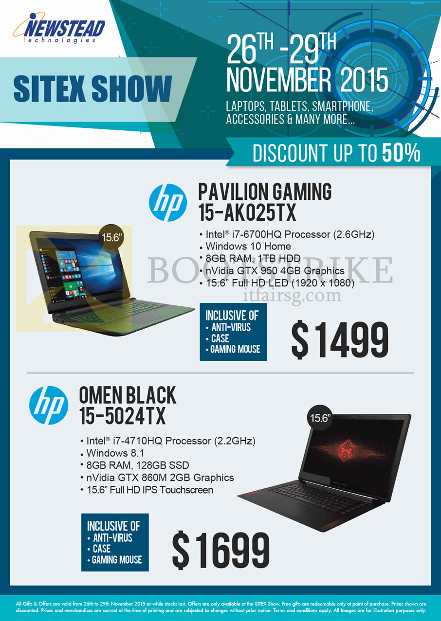 SITEX 2015 price list image brochure of HP Newstead Notebooks Gaming Pavilion 15-AK025TX, Omen Black 15-5024TX