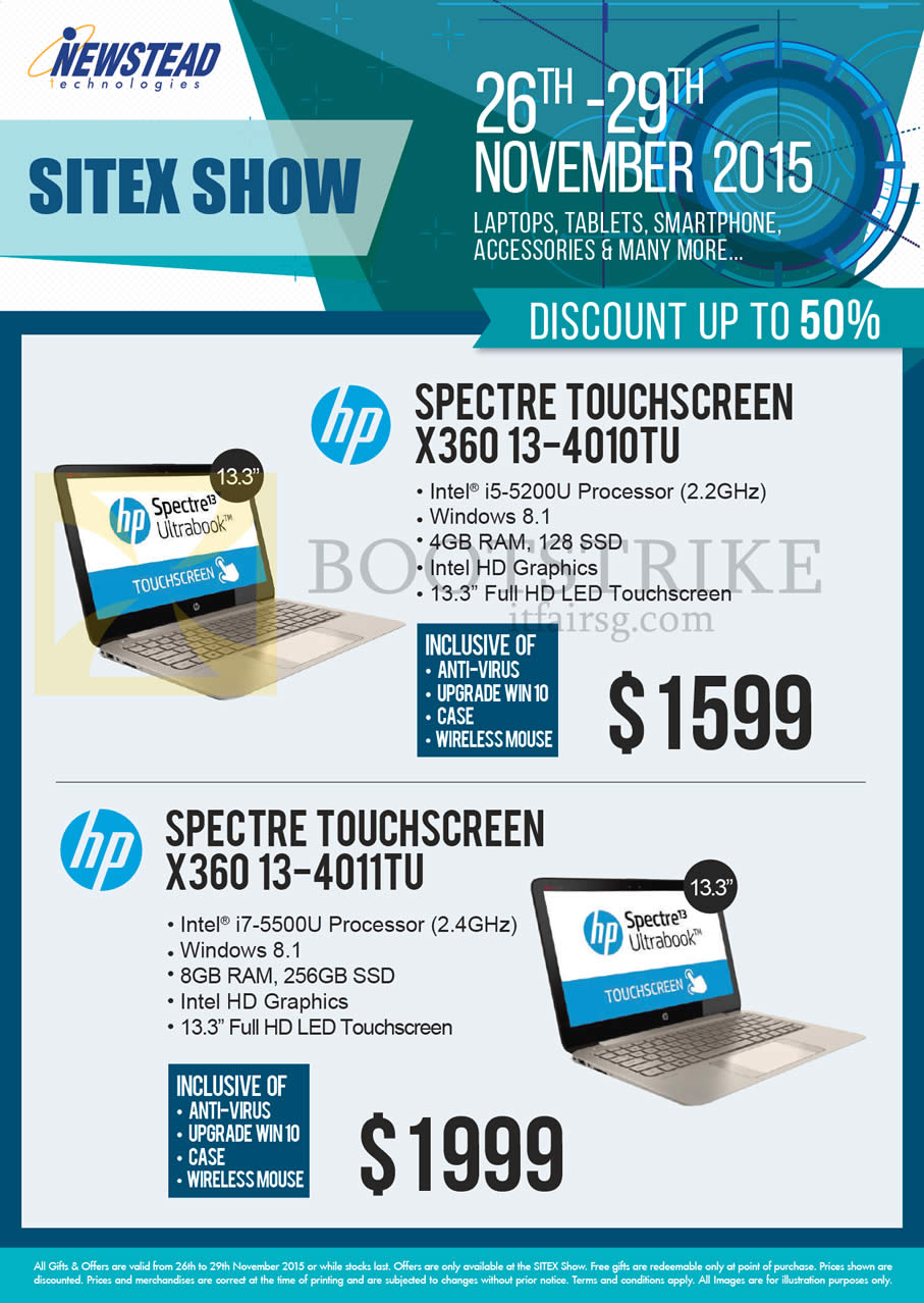 SITEX 2015 price list image brochure of HP Newstead Notebooks Spectre Touchscreen X360 13-4010TU, X360 13-4011TU