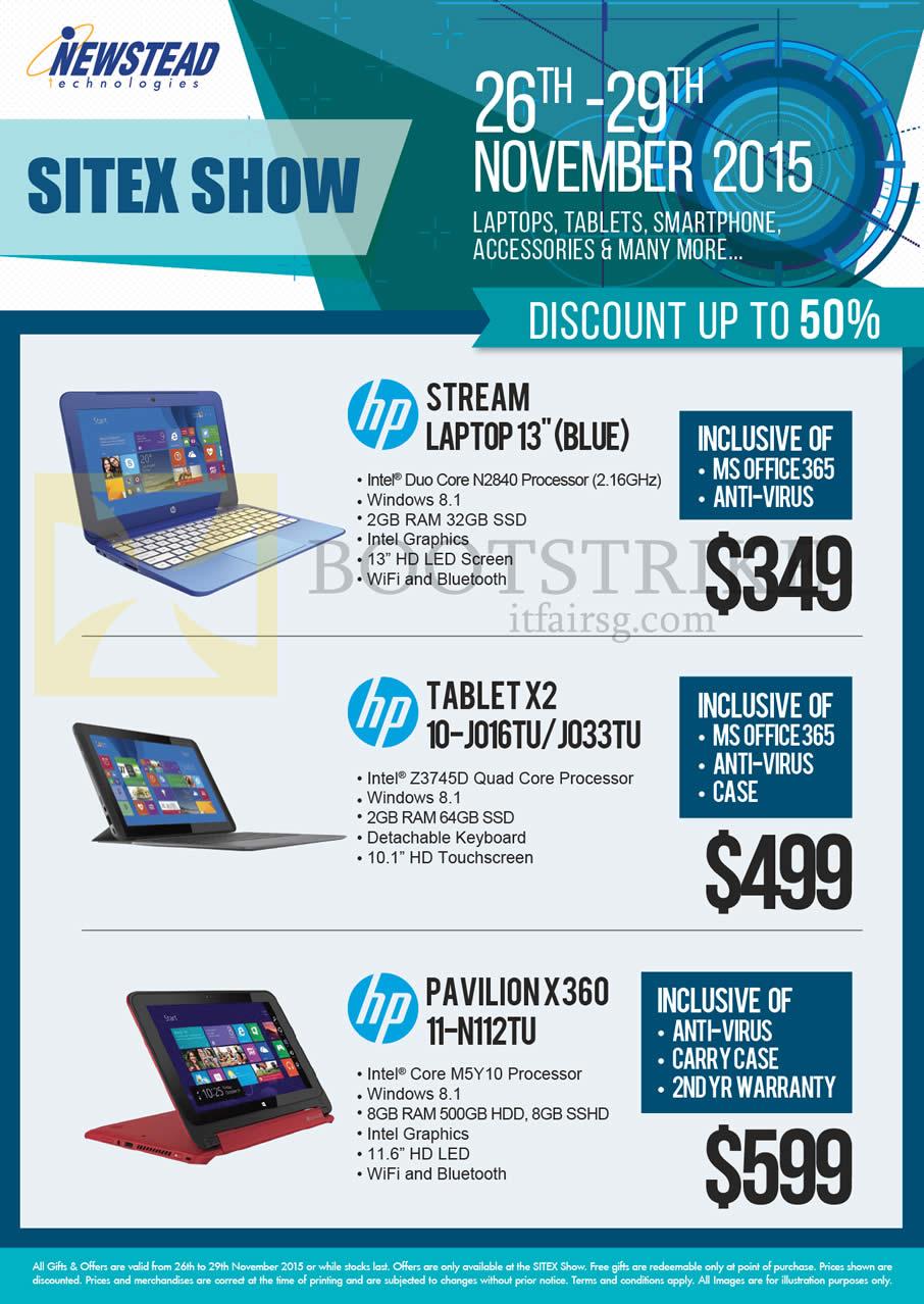 SITEX 2015 price list image brochure of HP Newstead Notebooks Stream, Tablets, X2 10-J016TU, 10-J033TU, Pavilion X360 11-N112TU