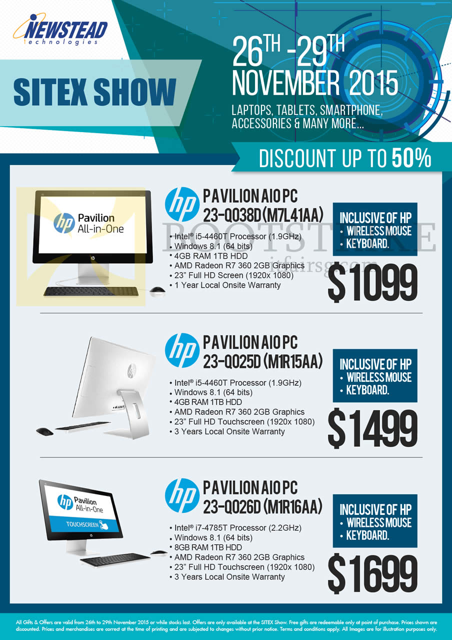 SITEX 2015 price list image brochure of HP Newstead Pavilion AIO Desktop PCs 23-Q038D M7L41AA, 23-00250 M1R15AA, 23-00260 M1R16AA