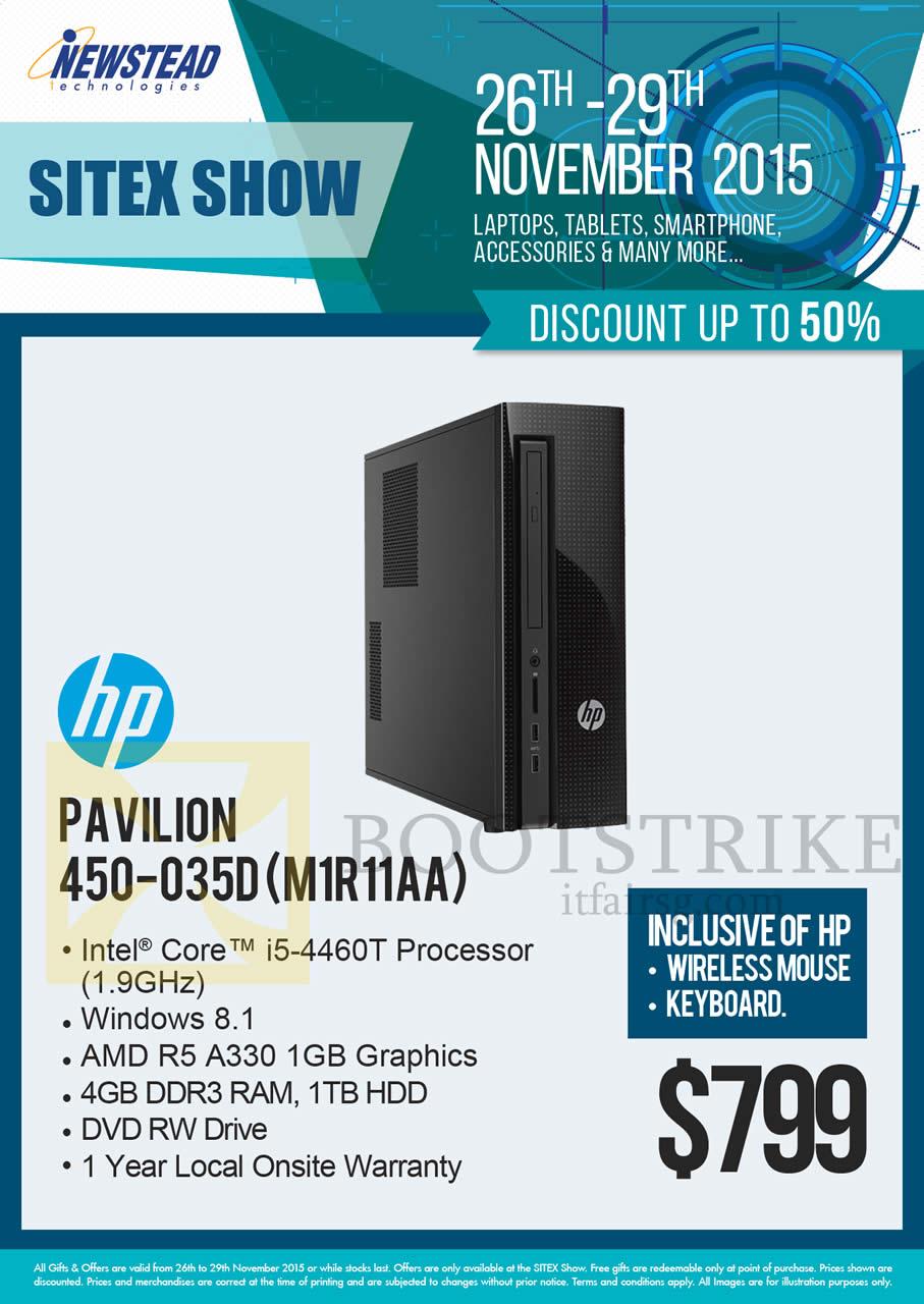 SITEX 2015 price list image brochure of HP Newstead Pavilion Desktop PC 450-035D M1R11AA