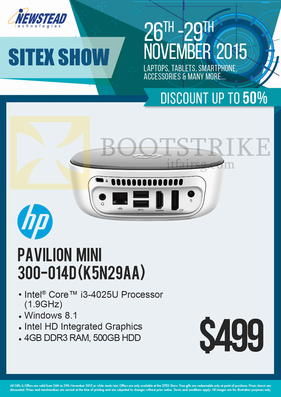 SITEX 2015 price list image brochure of HP Newstead Pavilion Mini Desktop PC 300-014D K5N29AA