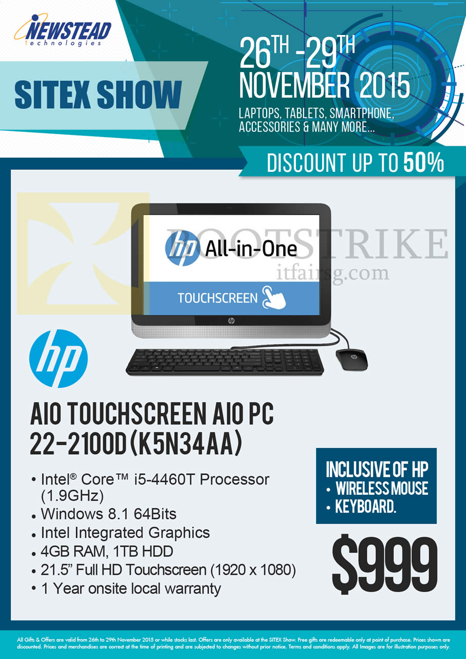 SITEX 2015 price list image brochure of HP Newstead Touchscreen AIO Desktop PC 22-2100D K5N34AA