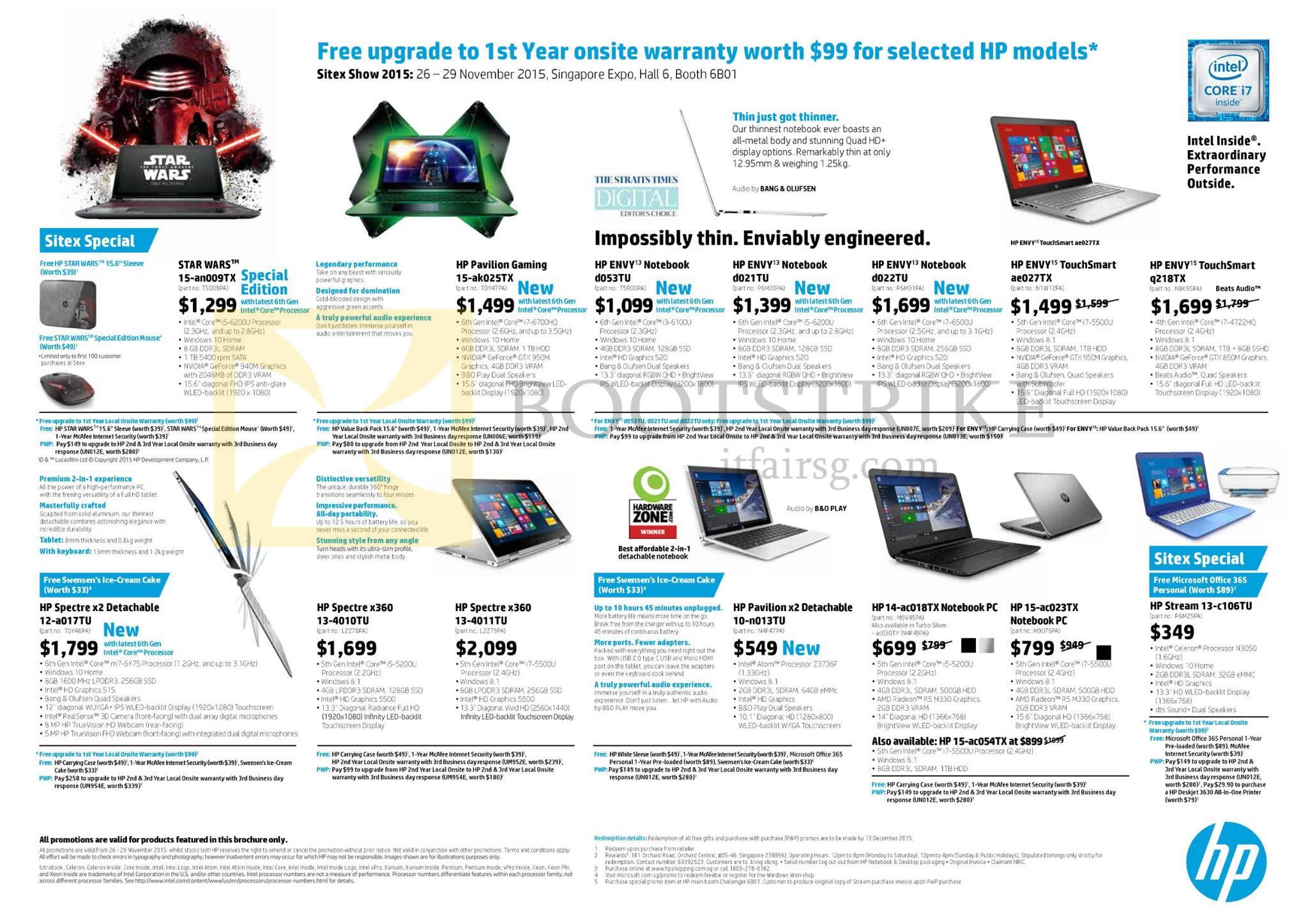 SITEX 2015 price list image brochure of HP Notebooks Star Wars 15-an009TX, Envy 13-d053TU, 13-d021TU, 13-d022TU, Spectre X360 13-4010TU, X2 Detachable 10-n013TU, 15-ac023TX