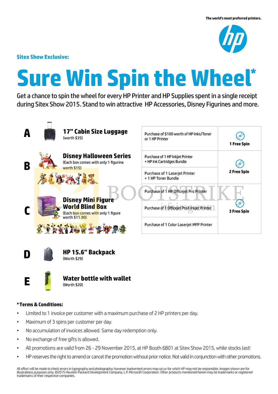 SITEX 2015 price list image brochure of HP Printers Sure-Win Spin The Wheel