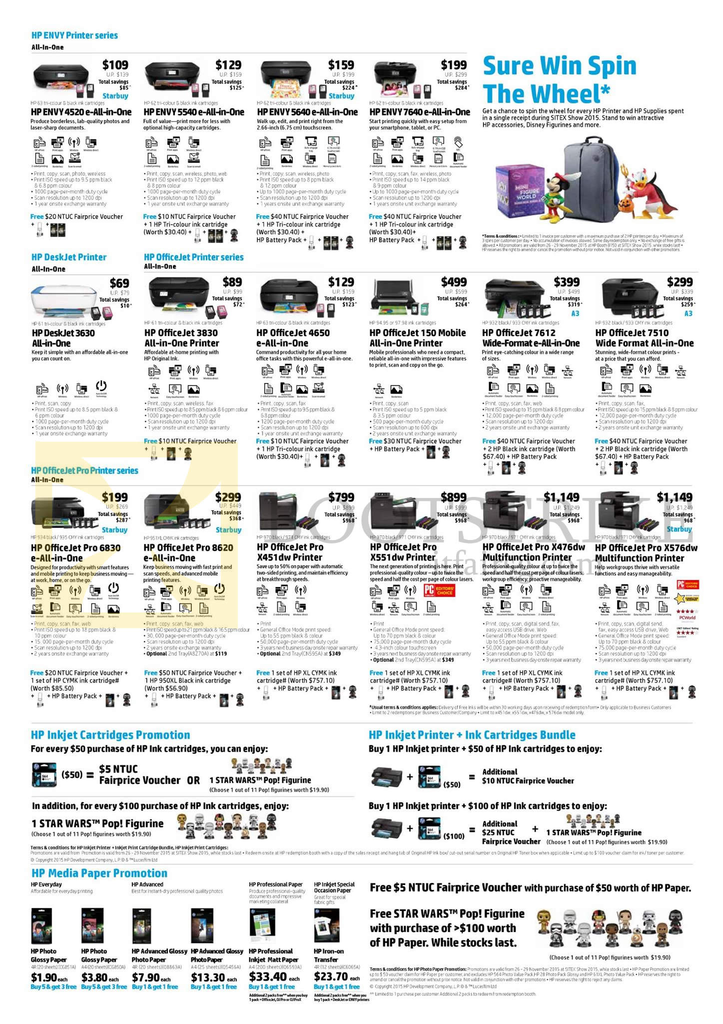 SITEX 2015 price list image brochure of HP Printers, Inkjet Cartridges, Media Paper, Envy 4520, 5540, 5640, 7640, Officejet 3830, 4650, 150 Mobile, 7612, 7510, Pro6830, Pro8620, ProX451dw, ProX551dw