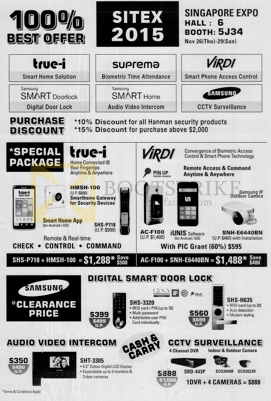 SITEX 2015 price list image brochure of Hanman Samsung Door Locks True-I Security Devices, Virdi AC-F100, IUnis, Audio Video Intercom, CCTV Surveillance
