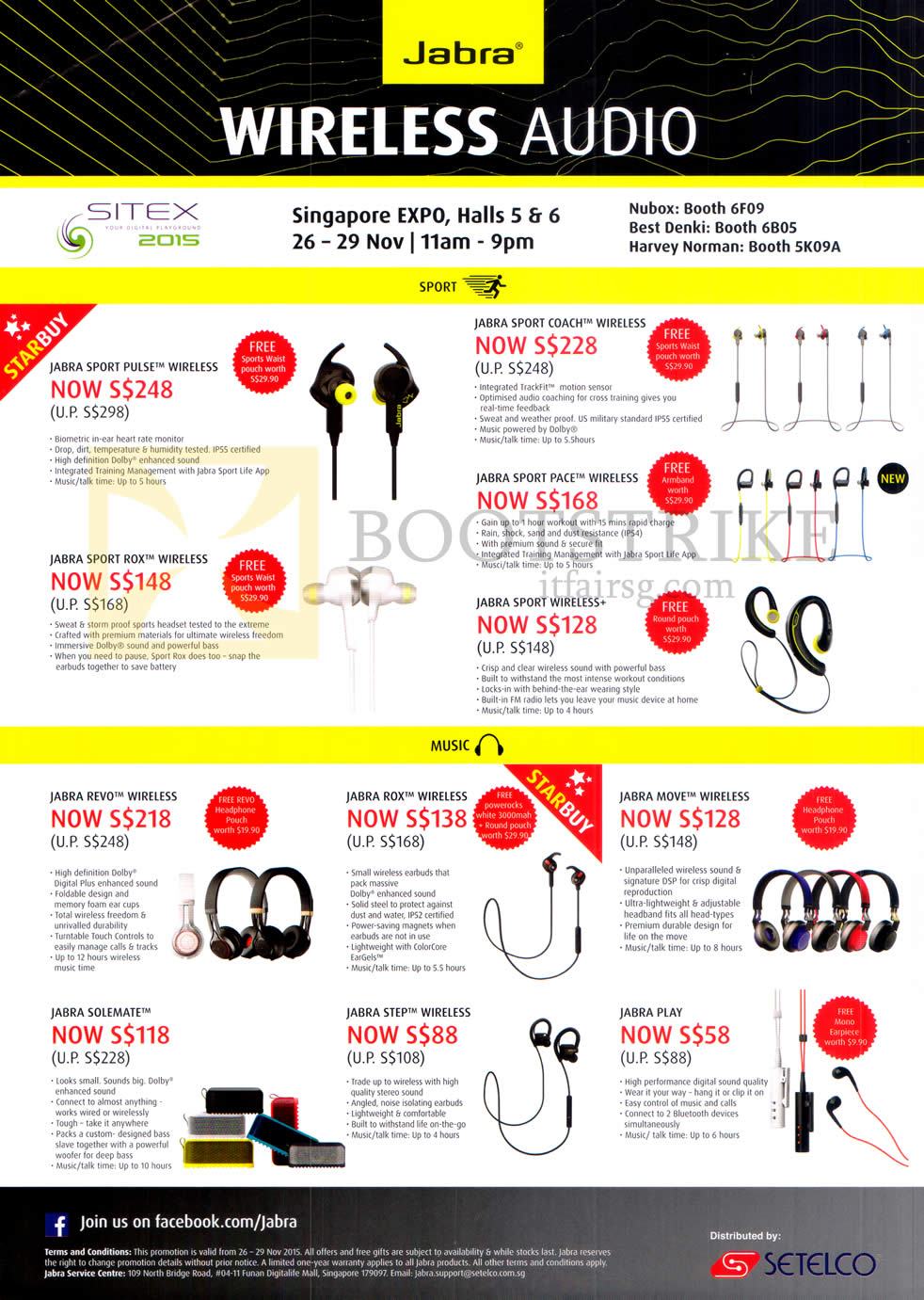 SITEX 2015 price list image brochure of Jabra Bluetooth Earphones, Jabra Sport Pulse, Rox, Coach, Pace, Sport Wireless, Revo, Rox, Move, Solemate, Step, Play