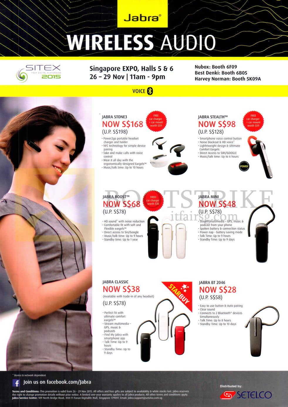 SITEX 2015 price list image brochure of Jabra Bluetooth Headsets Wireless Audio Jabra Stone3, Stealth, Boost, Mini, Classic, BT 2046