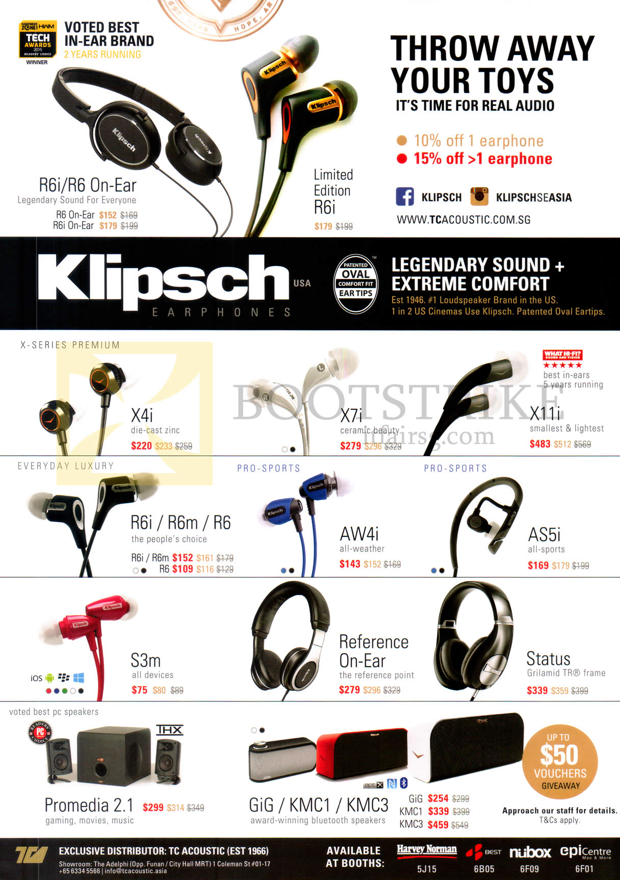 SITEX 2015 price list image brochure of Klipsch Earphones, Headphones, Bluetooth Speakers, R6i, R6 On-Ear, X4i, X7i, X11i, R6i, R6m, R6, AW4i, X11i, AS5i, S3m, Reference-ON-Ear, Status, Promedia 2.1, Gig, KMC1, KMC3
