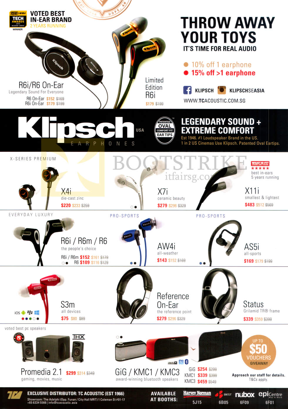 SITEX 2015 price list image brochure of Klipsch Earphones, R6i, R6 On-Ear, Limited Edition R6i, X4i, X7i, X11i, R6i, R6m, R6, S3m, X7i, AW4i, X11i, AS5i, Status, Reference On-Ear, Promedia 2.1, Gig, KMC1, KMC3