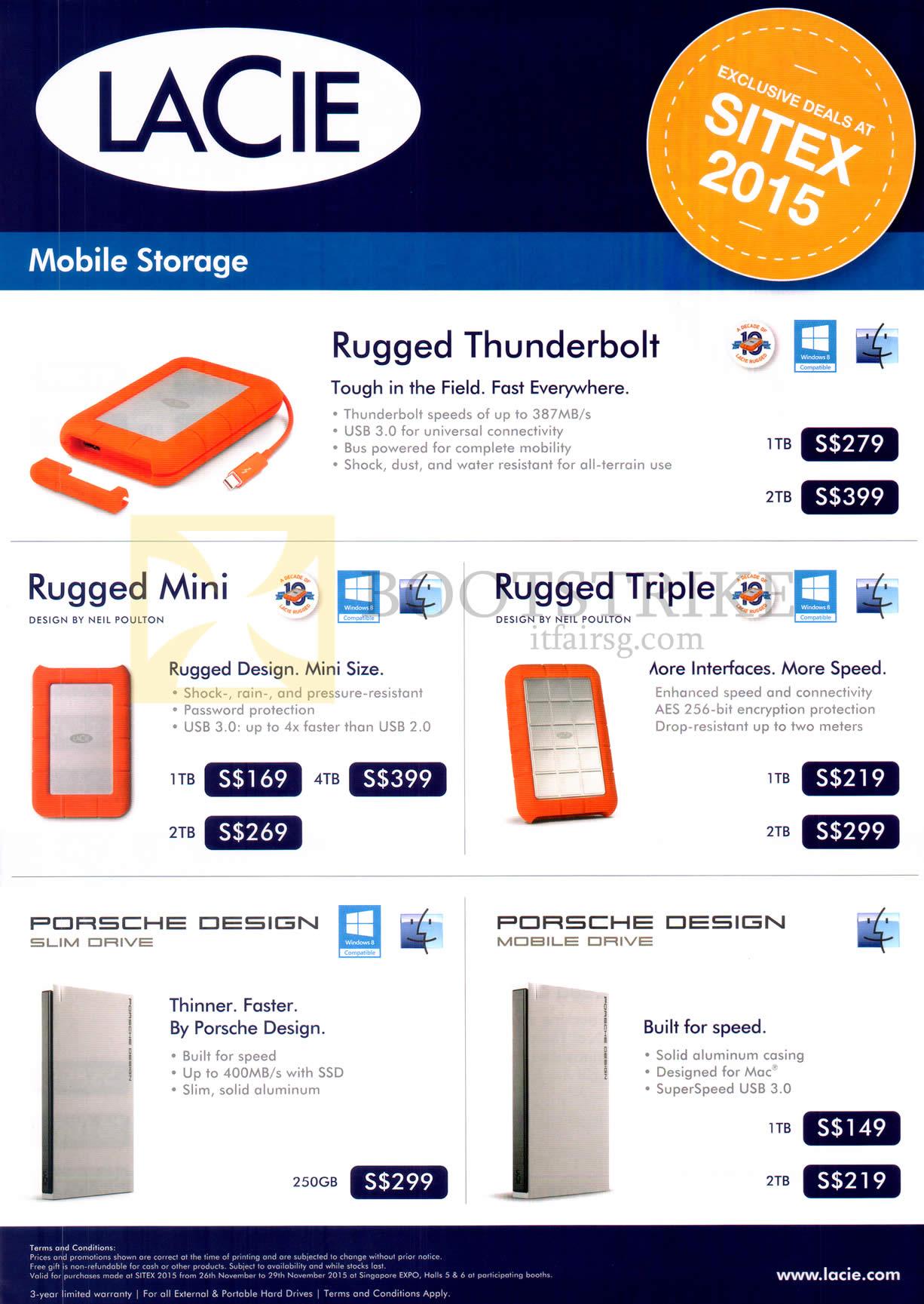 SITEX 2015 price list image brochure of Lacie Mobile Storage Rugged Thunderbolt, Mini, Triple, Porsche Design Slim Drive, Mobile Drive