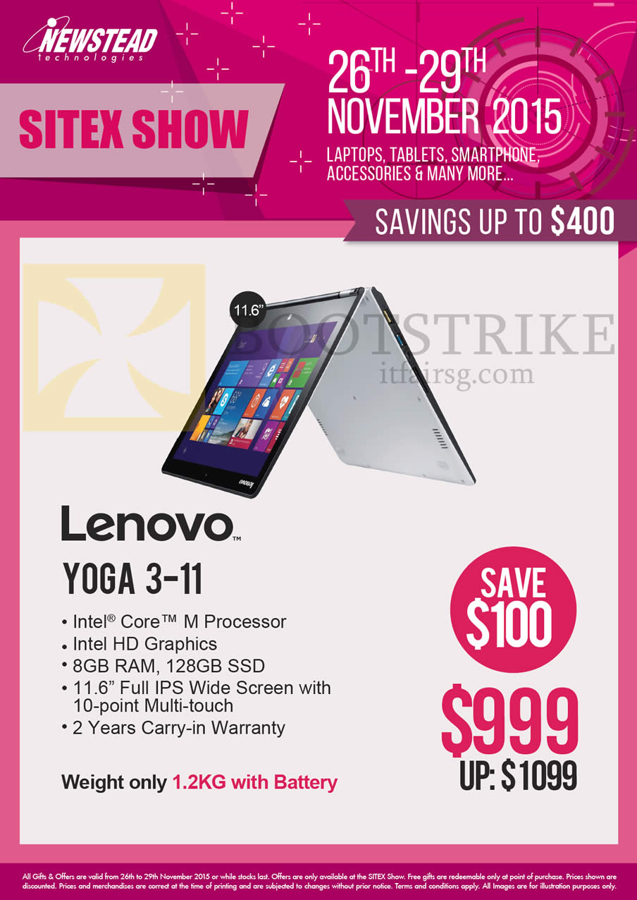 SITEX 2015 price list image brochure of Lenovo Newstead Notebook Yoga 3-11
