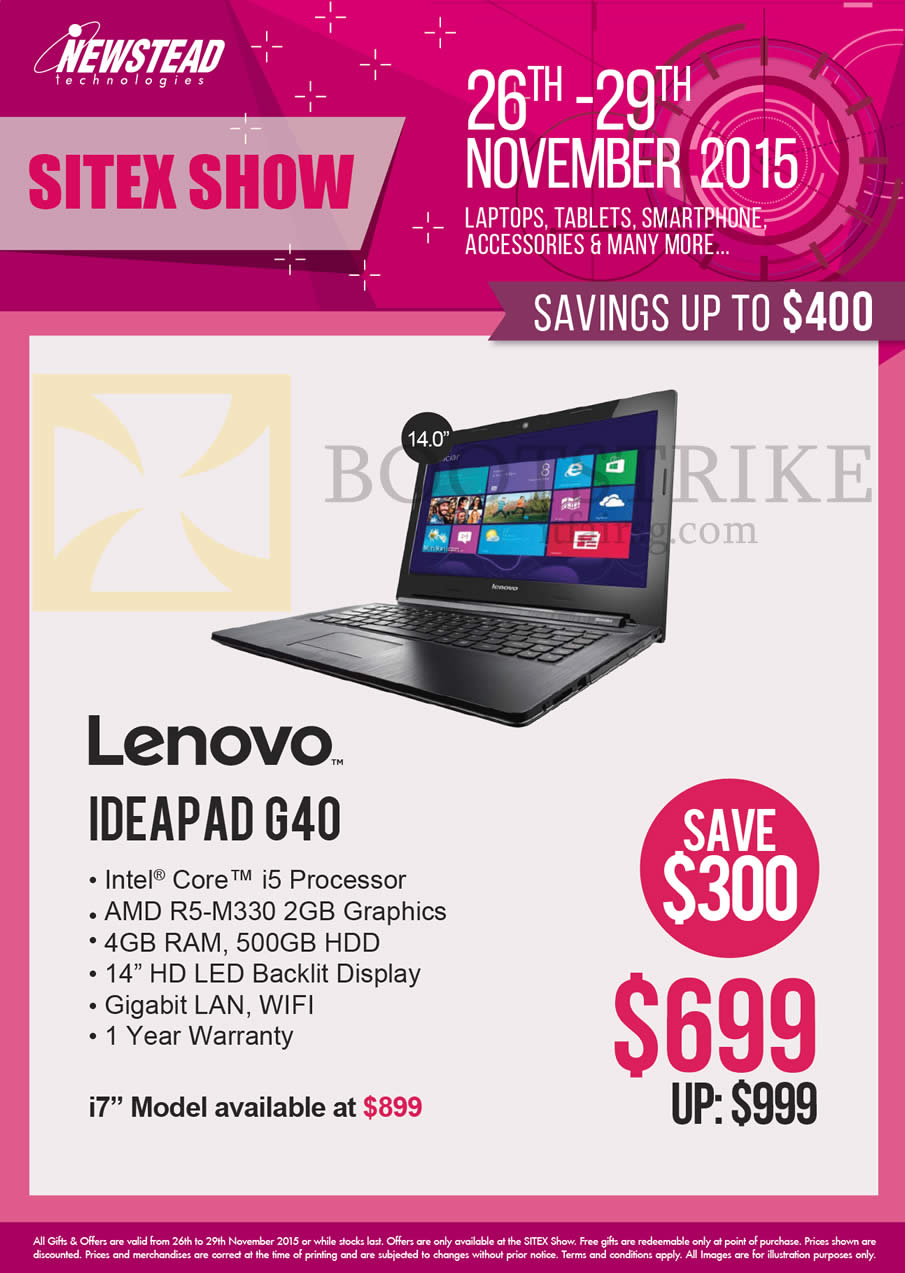 SITEX 2015 price list image brochure of Lenovo Newstead Notebooks Ideapad G40