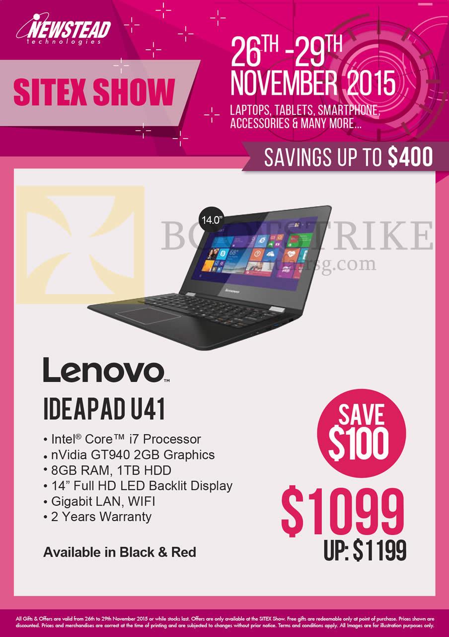 SITEX 2015 price list image brochure of Lenovo Newstead Notebooks Ideapad U41
