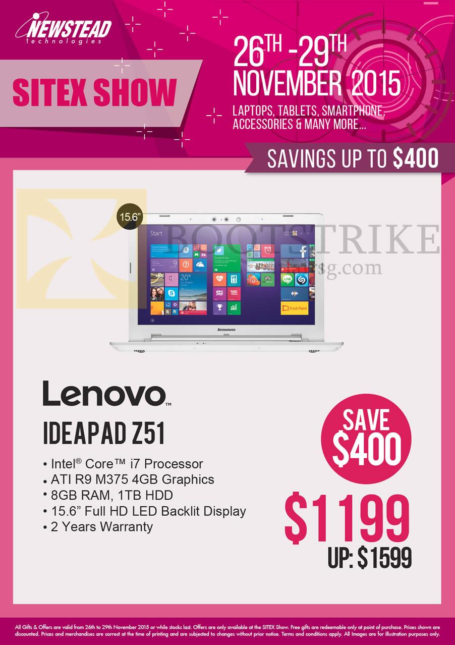 SITEX 2015 price list image brochure of Lenovo Newstead Notebooks Ideapad Z51