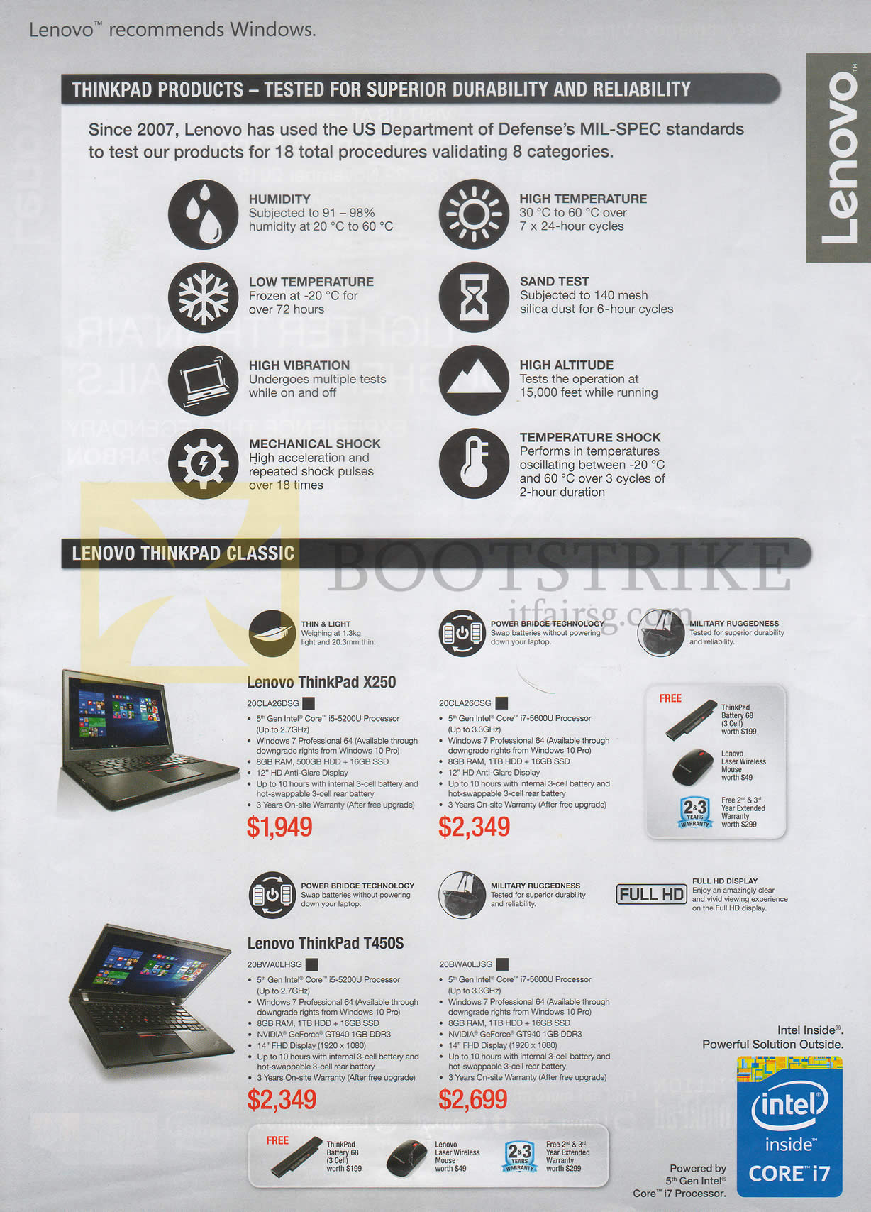 SITEX 2015 price list image brochure of Lenovo Notebooks ThinkPad X250 20CLA26DSG, 20CLA26CSG, T450S 20BWA0LHSG, 20BWA0LJSG